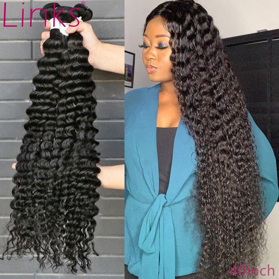 Ссылки бразильские волосы, волнистые пряди 1/3/4 свободные глубокая волна пряди 28 30 32 36 40 дюймов Пряди Remy Вьющиеся пряди для наращивания волос ...
