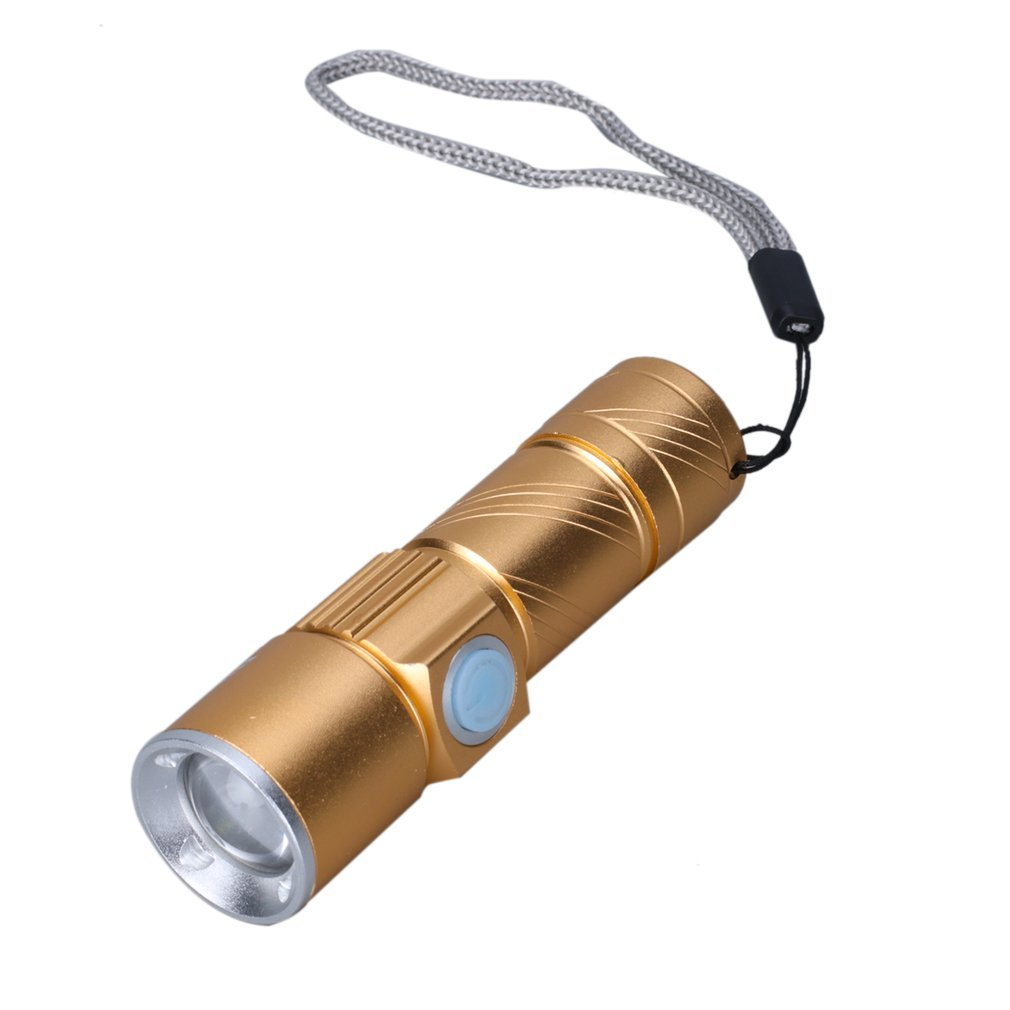 USB Handy LED Flashlight Mini Rechargeable LED Torch 3 Modes Zoomable Pocket Flash Light For Bike Camping Hunting Black