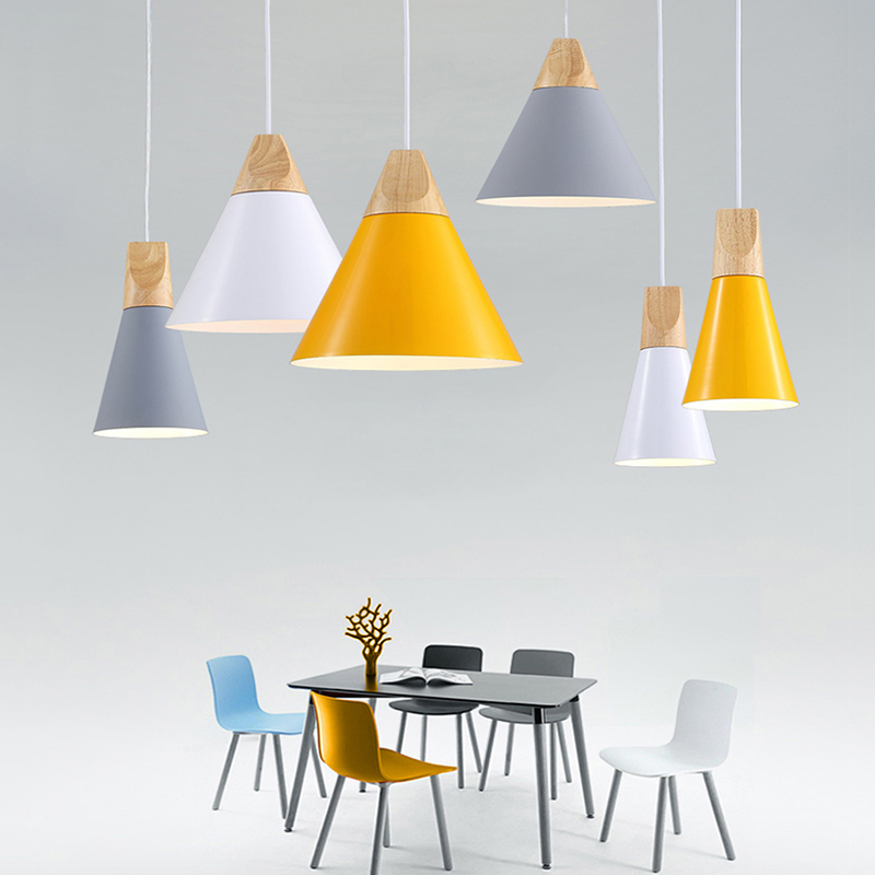 Nordic LED Pendant Lights Dining Room Pendant Lamp Modern Colorful Restaurant Kitchen Coffee Bedroom Loft Hanglamp Wood E27