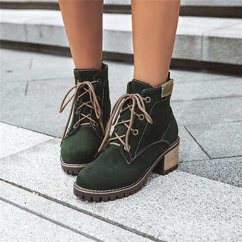 Green Black Beige Ankle Boots for Women Lace Up Block High Heels Winter Autumn Shoes Plus Size Cross Tied Combat Boots