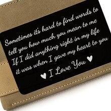Año Nuevo Love Note regalos de novio tarjetas de cartera grabadas insertos aniversario regalos obsequios fiesta regalos de Navidad para hombres y marido