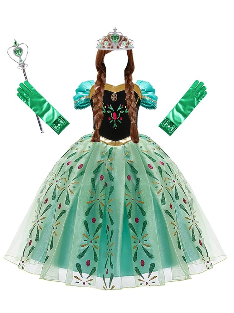 Anna Dress for Girls Cosplay Snow Queen Princess Costume Kids Summer Clothes Children