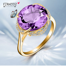 FIMAODZ Fashion18k  Yellow Gold Plating Purple crystal Ring For Women Wedding Rings Adjustable Size Party Finger Jewelry