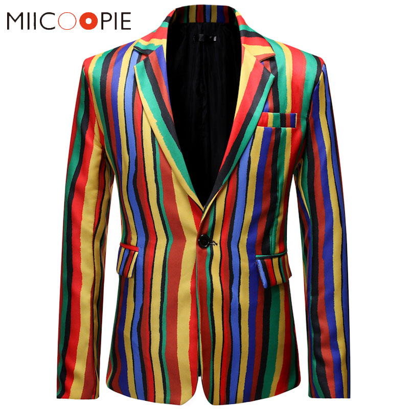 Luxury Rainbow Men Blazer Suit Casual Striped Colorful Mens Dress Jacket Stylish Male Prom Business Slim Fit Blazer Hombre 3XL