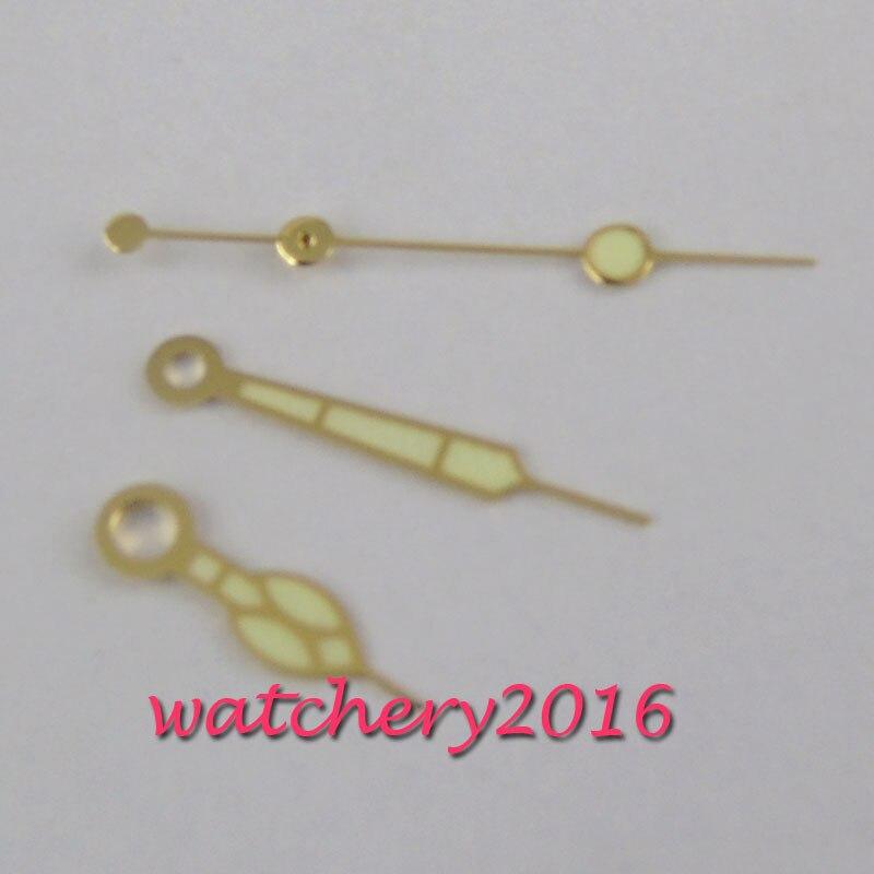 Banhado a Ouro Clássico Vintage Amarelo Relógio Mãos Ajuste Miyota 8215 8205 Movimento