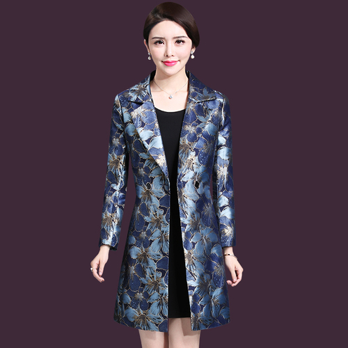 2019 High Quality Free Shipping Middle Aged Women Printed Windshirt Coat Plus Size 5xl Formal Double Breasted Long   Trench   Coat