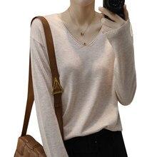 Camisola com decote em v feminina de manga comprida camisola de malha curta outono primavera fina camisa de fundo