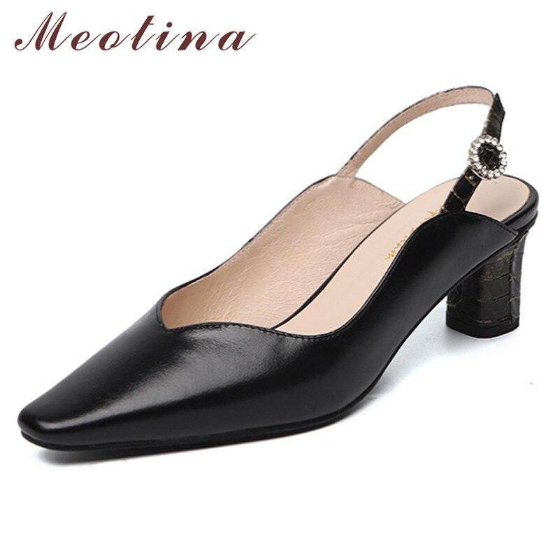 Meotina Crystal Genuine Leather High Heels Pumps Slingbacks Women Shoes Pointed Toe Block Heel Footwear Lady Summer Black Beige
