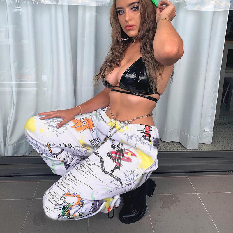 Image 3 - Rockmore Tie Dye Furry Harajuku Pants Women Joggers Streetwear Trousers Loose Wide Leg Sweat Pants SweatPants Femme Plus SizePants & Capris   -
