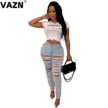 VAZN | nuevo 2019 abierto novedad otoño luz azul joven ahueca hacia fuera Sexy moda mujer pantalones vaqueros largos lápiz