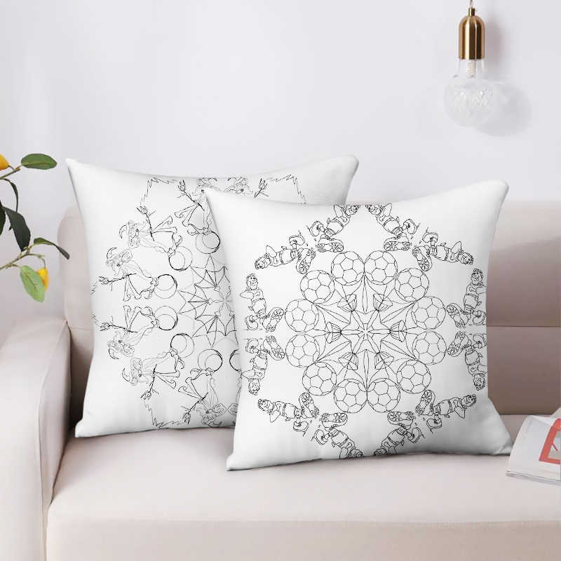 mandala pillow cover decorative morocco black and white cushion cover 45x45cm boho pillow polyester throw pillow sofa bed cojin