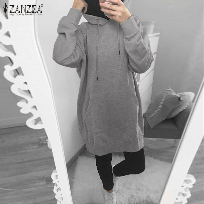 ZANZEA Women Hoodies Female Casual Pullovers Sweatshirts 2020 Autumn Long Hooded Pockets Sweatshirt Solid Sudadera Plus Size 5XL