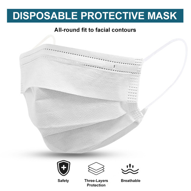 50 PCS/LOT Face Mouth Mask Disposable 3 Layers Health Care White Facial Protective Masks Blue