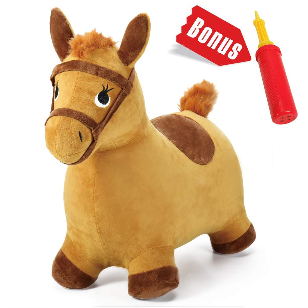 Kids Ride on Bouncy Play Toys Yellow Hopping Horse Plush Inflatable Hopper Birthday Gift for 18 Months 2 3 4 5 Year Old Boy Girl