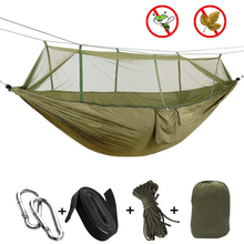 Camping/garden Hammock with Mosquito Net Outdoor Furniture 1 2 Person Portable Hanging Bed Strength Parachute Fabric Sleep Swing