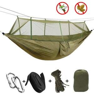 Image 1 - Camping/garten Hängematte mit Moskito Net Außen Möbel 1 2 Person Tragbare Hängen Bett Festigkeit Fallschirm Stoff Schlaf schaukel