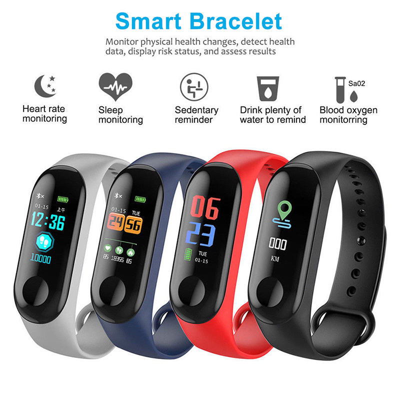 New M3 Fitness Bracelet Fitness Tracker Pedometer Blood Pressure Heart Rate Monitor Waterproof Wristband Step Counter Dropship