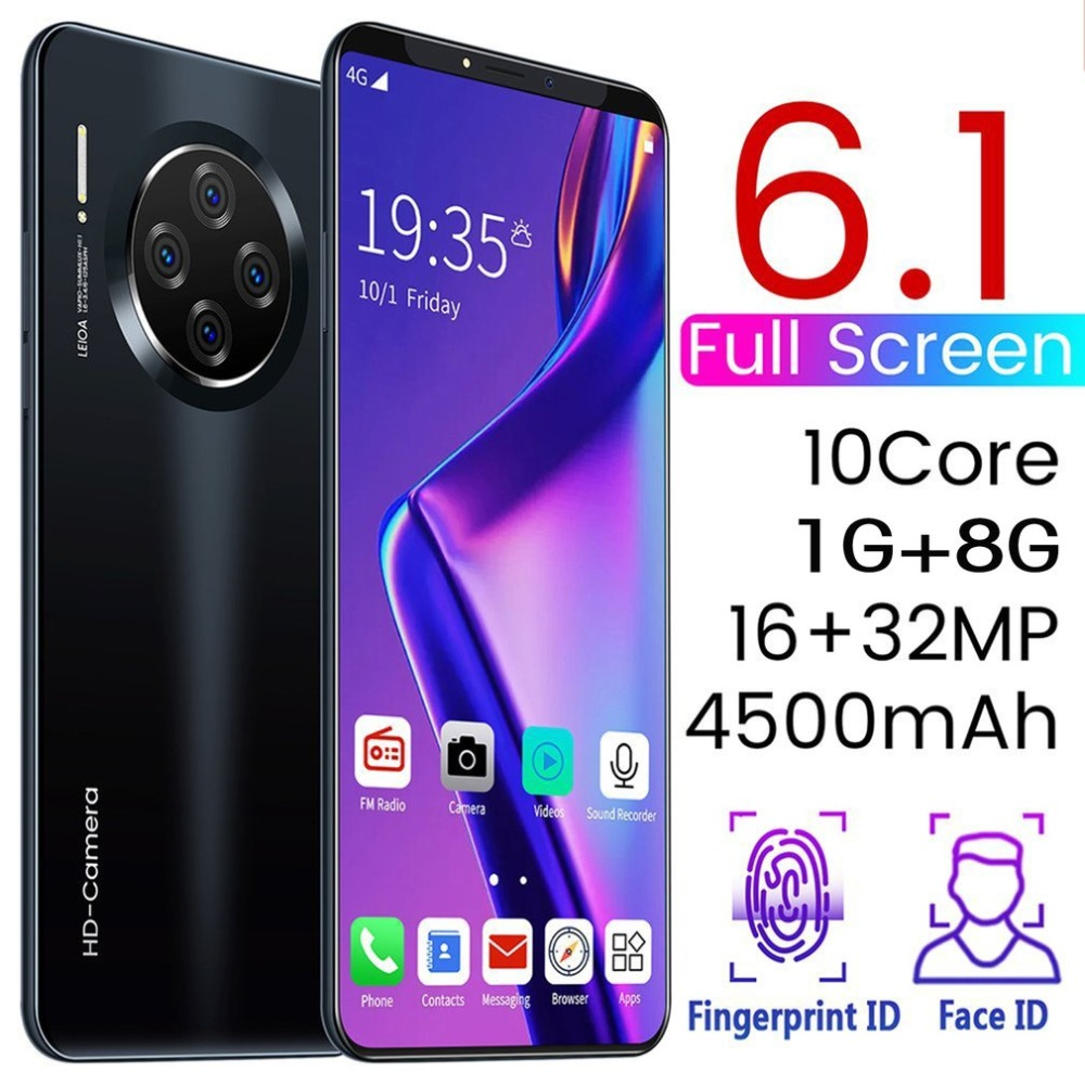 6.1 Inch Smartphone for Mate33 Pro Big Screen Android 9.1 Smartphone Hd Display 8 Cores 4500mAh 1GB+8GB Hd Camera Mobile Phone
