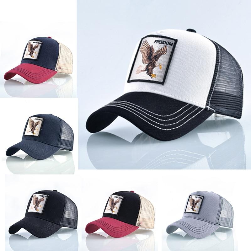 Men Animal Embroidered Eagle Mesh Baseball Caps Hip-Hop Trucker Unisex Outdoor Sport Sunhat Women Breathable Snapback Adjust Hat