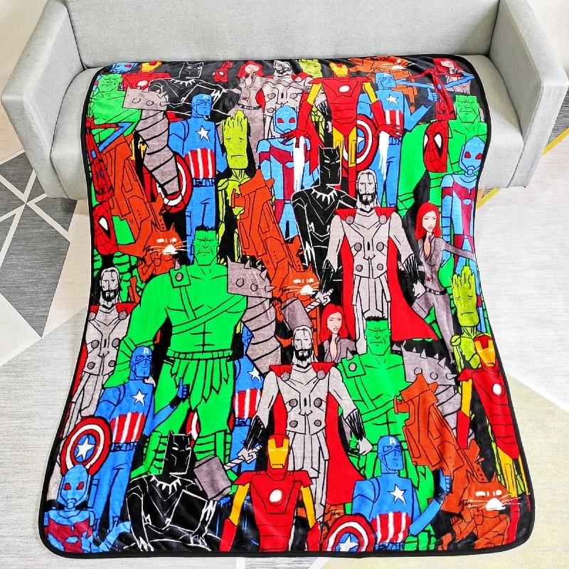 Anime Avengers Heroes Blanket Cartoon Captain America Hulk Printed Soft Baby Coral Fleece Blankets 117x152CM Sofa Boy Bed Sheet