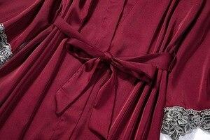 Image 5 - レーストリムブライダルウエディングローブ女性のセクシーなパジャマ緩い花嫁介添人着物バースドレスカジュアル浴衣 & 寝間着セット