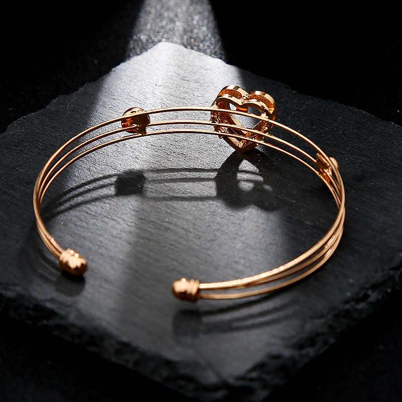 5 ชิ้น/เซ็ตหัวใจสีทองคริสตัลครบรอบงานแต่งงานชุดของขวัญเครื่องประดับสำหรับผู้หญิง
