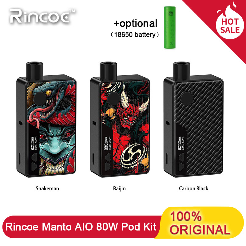 Electronic Cigarette Rincoe Manto AIO 80W Vape Pod Kit Powered By Single 18650 Battery 3ml Capacity Vaporizer For MTL/DTL Vapers