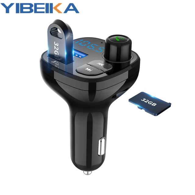 Bluetooth 5.0 MP3 çalar Handsfree araç kiti FM verici destek TF kart U disk QC3.012V hızlı çift USB araç