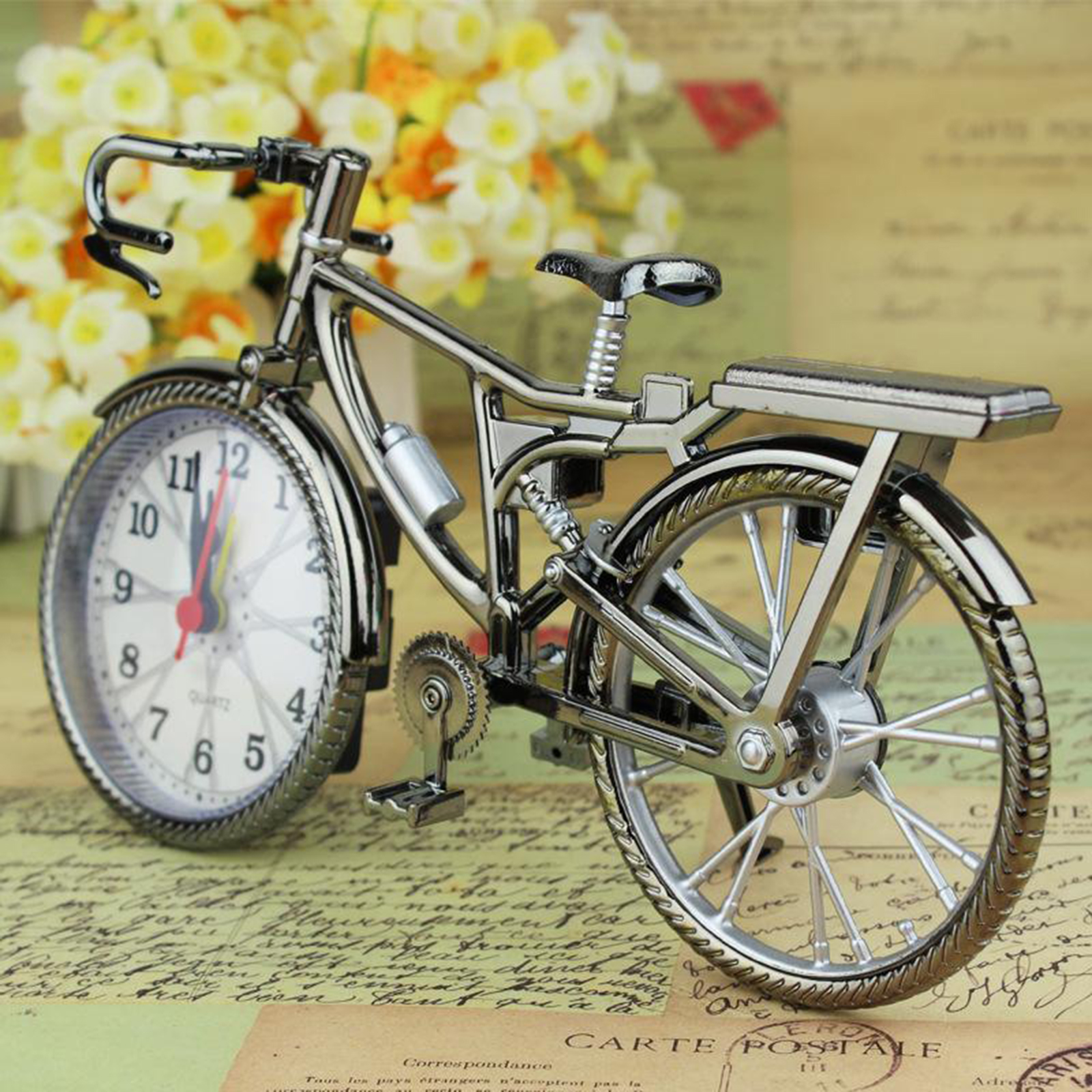 Creative Table Clock Cool Alarm Clock Retro Bicycle Shape Works Of Art Home Decor Numeral Vintage Novelty Bicycle Alarm Clock