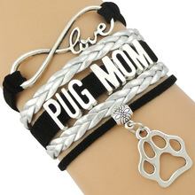 Infinity Love Pug Mom Bracelets Doggie Dog Person Lover Paw Print Yorkie Collie Havanese Chihuahua