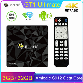 Beelink GT1 Ultimate Android 7.1 Smart TV Box Amlogic S912 Octa Core 3G/32G BT4.0 4K HD 2.4G 5.8G Wifi Set Top Box Media Player t95k pro android 7 1 kodi smart tv box amlogic s912 octa core 4k 2 3g 16 32g bt4 1 5g wifi media player set top box android tv