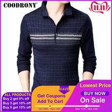 Coodrony marca camisola masculina malhas pull homme turn down colarinho pulôver camisa masculina outono inverno quente algodão lã suéteres 91040