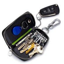 Fashion Genuine Leather Car Key Bag Crocodile Pattern Zipper Keys Housekeeper Cow Leather Key Organizer Case Mini Wallet цена