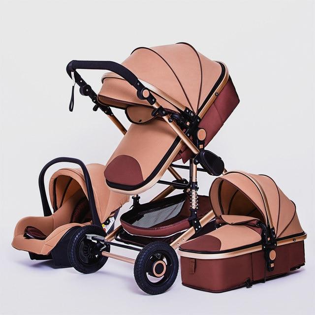 Luxo multifuncional 3 em 1 carrinho de bebê portátil alta paisagem carrinho dobrável carrinho de bebê ouro vermelho recém nascido 4