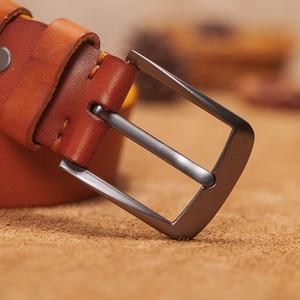 Image 3 - VAMOS KATOAL Men leather belt,Retro top quality Genuine Leather Belts for men, Male metal Pin Buckle belt