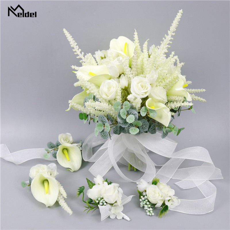Wedding Bouquet For Bridesmaids White Pink Silk Roses Wedding Men Boutonniere Flowers Bridal Bouquets Marriage Home Decoration