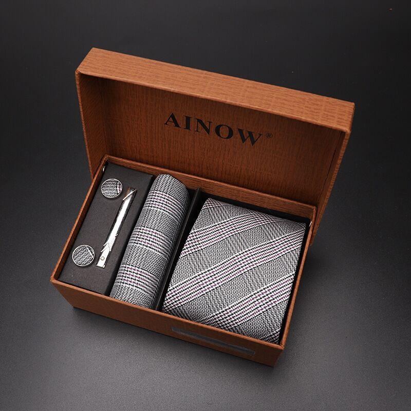 Набор галстуков 4 шт. мужской цветочный галстук для шеи клетчатый галстук подарок свадебный красный полосатый 8 см темно-синий жаккардовый тканый черный однотонный Камуфляжный ящик - Цвет: NO box 54