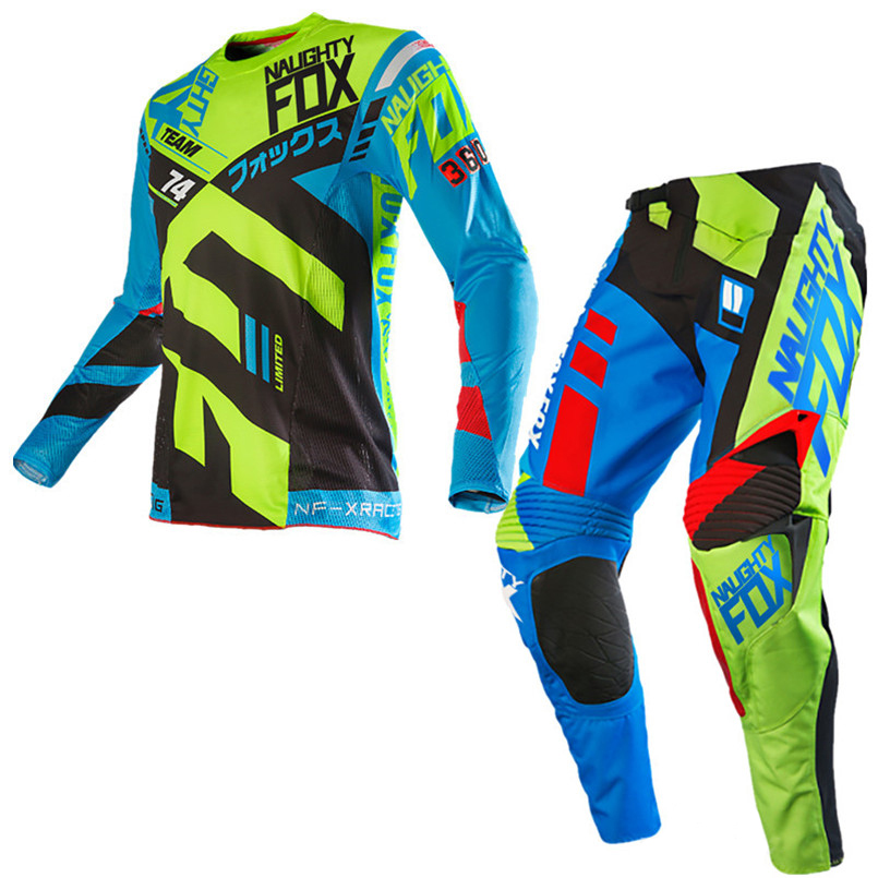 2018 NAUGHTY Fox MX MTB 360 Divizion Mens Gear Set Motocross ATV Dirt Bike Off-Road Race Gear Pant Jersey Combo
