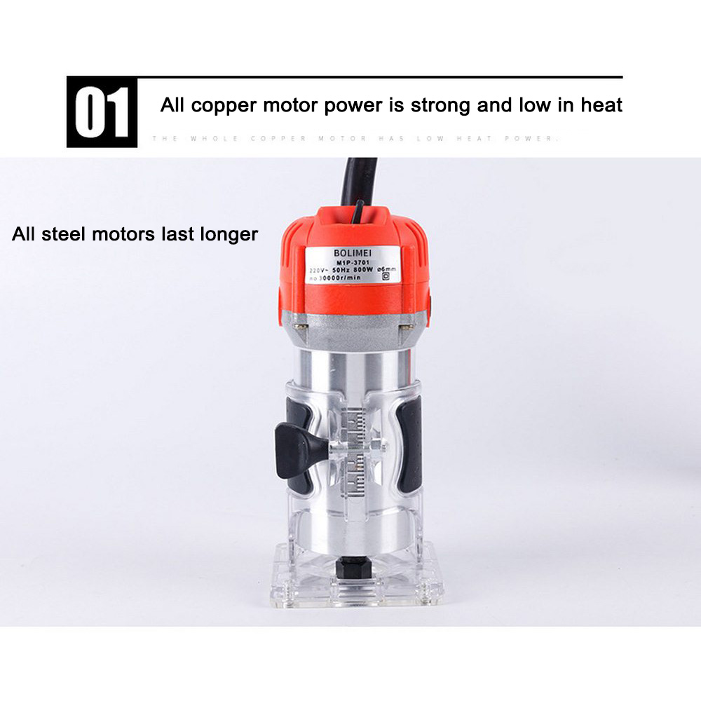 Woodworking Electric Trimmer 650W 30000rpm Wood Milling Engraving Slotting Trimming Machine Hand Carving Machine Wood Router