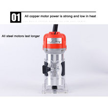 Woodworking Electric Trimmer 650W 30000rpm Wood Milling Engraving Slotting Trimming Machine Hand Carving Machine Wood Router(China)