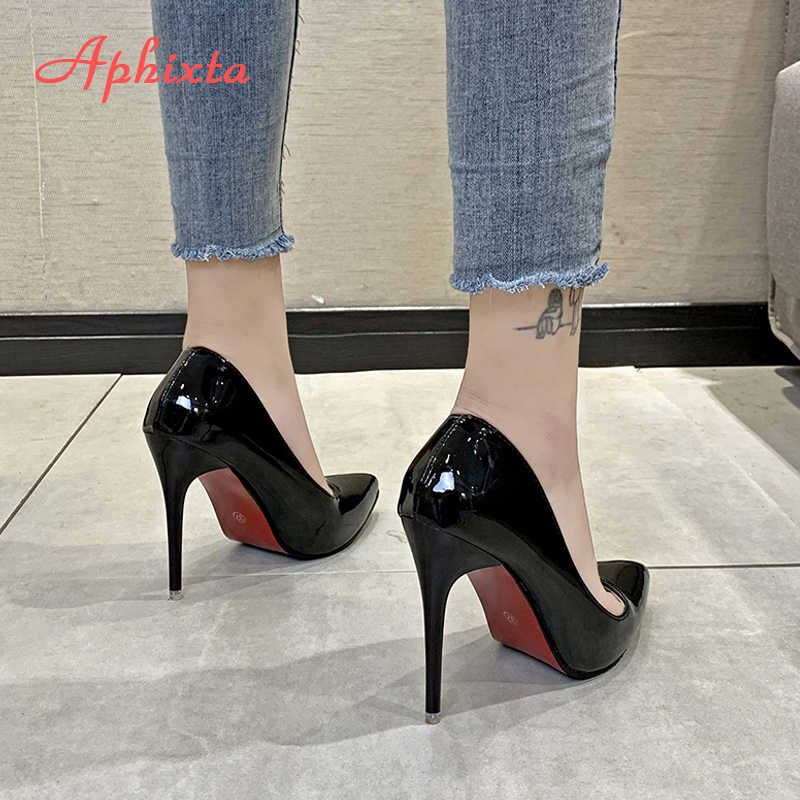 Aphixta 11.5cm משרד דק עקבים משאבות נשים נעלי הבוהן מחודדת פטנט עור חתונה שמלת נעלי אישה Chaussures Femme