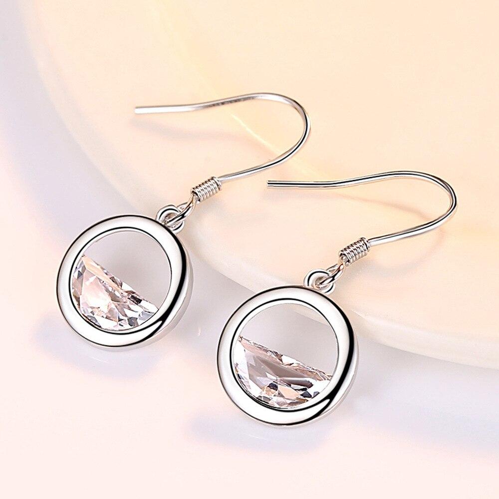 New Sale fashion jewelry Circle droplets female crystal wedding earrings Silver Earring Jewelry GemStone Gift