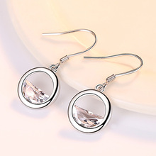 New Sale fashion jewelry Circle droplets female crystal wedding earrings Silver Earring Jewelry GemStone Gift