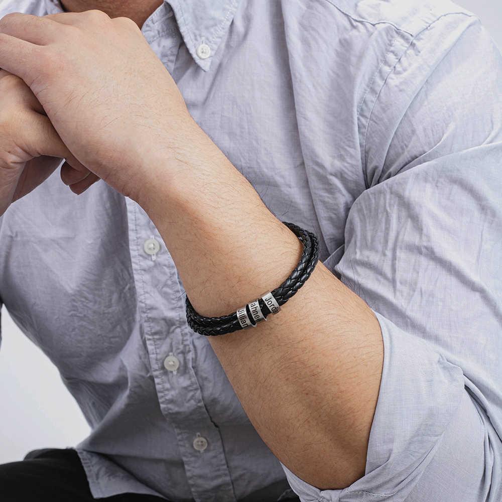 ส่วนบุคคลชื่อสร้อยข้อมือหนังเชือกถักสร้อยข้อมือผู้ชายสร้อยข้อมือ Charm สแตนเลสสตีลเครื่องประดับของขวัญ (Lam HUB Fong)