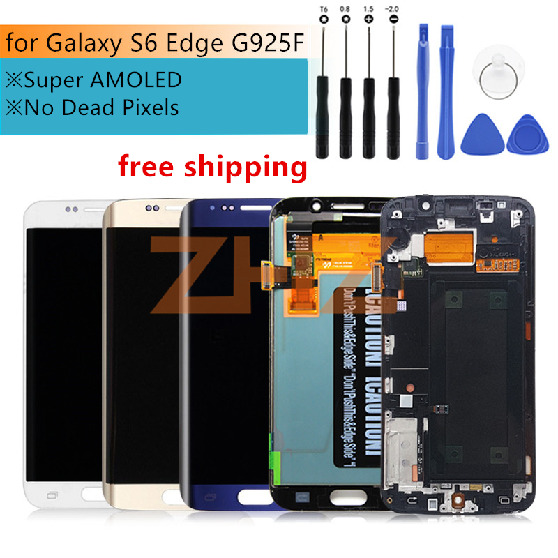 For Samsung Galaxy S6 Edge lcd display touch screen digitizer assembly G925 G925F SM G925F with frame replacement repair part