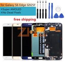 Samsung Galaxy S6 kenar lcd ekran dokunmatik ekran digitizer meclisi G925 SM G925F G925F çerçeve ile yedek parça tamir