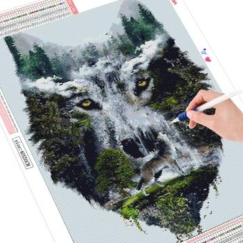 HUACAN DIY Diamond Painting 5D Wolf Diamond Art Embroidery Waterfall Scenery New Arrival Mosaic Home