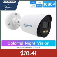 Movols cámara de seguridad de 2MP con visión nocturna, CCTV AHD, cámara de vídeo de vigilancia para exteriores, cámara analógica impermeable con Sensor Sony