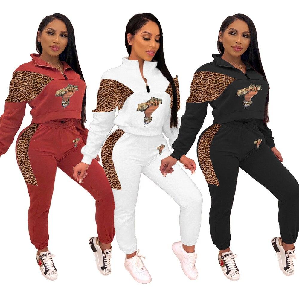 Осень Зима Новый женский комплект сексуальный Леопардовый Пэчворк доллар США спортивный костюм из двух частей комплект одежды