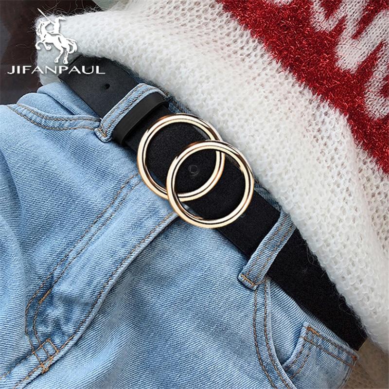 JIFANPAUL delle Donne del cuoio Genuino della lega doppio anello fibbia moda cintura regolabile retro punk delle signore dei jeans del vestito studente cinture